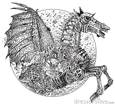 Steampunk horse (vector)