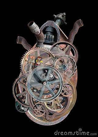Free Steampunk Human Machine Heart Isolated Royalty Free Stock Photos - 78167918