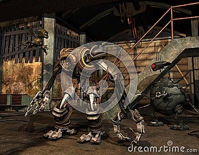 Steampunk machine in an industrial building