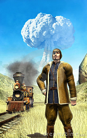 Steampunk man and atomic war