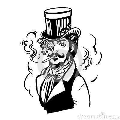 Free Steampunk Man In Top Hat And Glasses With The Beard Royalty Free Stock Photo - 73410885