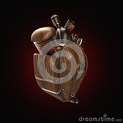 Free Steampunk Mecha Robot Techno Heart. Engine With Pipes, Radiators And Wooden Hood Parts.  Isolated Stock Images - 68049584