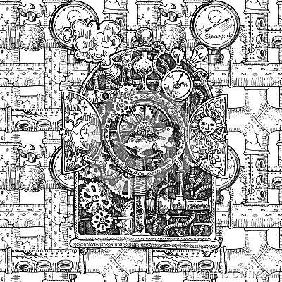 Free Steampunk Mechanism Sketch Stock Photo - 63960100