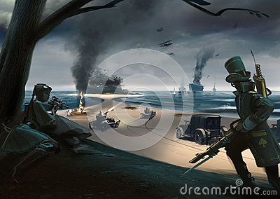 Steampunk style battle on coast, ships, cars, airplanes