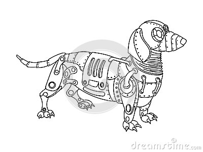 Steampunk Style Dachshund Dog Coloring Book Vector Cartoon