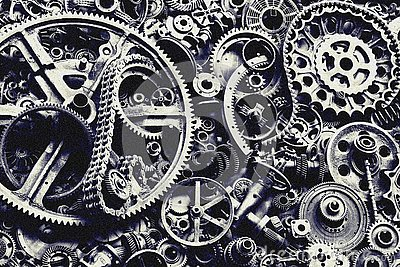 Steampunk texture, backgroung with mechanical parts, gear wheels Stock Photo