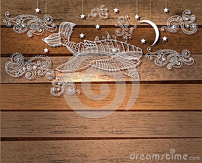 Steampunk whale in night sky with stars and moon and beautiful c Vector Illustration