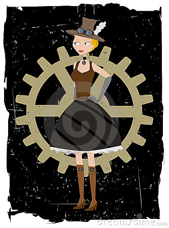 Steampunk woman on gear grunge vector background