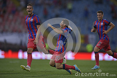 Steaua Bucharest - CFR Cluj, Popa celebrating Editorial Photo