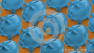 Stecken eines Geldes in eine piggy Querneigung Geldkasten voll Münzen Sparschweinförderer lizenzfreie abbildung