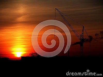 Stedelijke zonsondergang