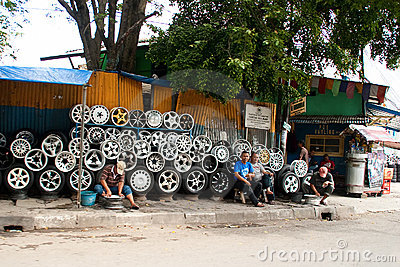 Steel Alloy Car Rims Bandung Indonesia 2011 Editorial Stock Photo