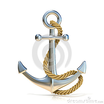 Steel anchor with rope Cartoon Illustration