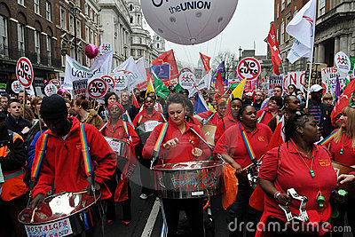 Steel Band Plays at Anti-Cuts Rally Editorial Image