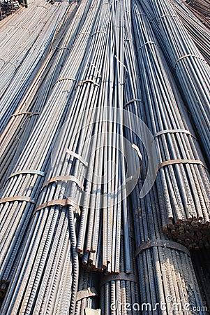 The steel bars in bundle