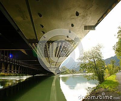 Steel beam of the bridge.