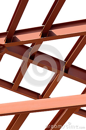 Steel beams on a white background