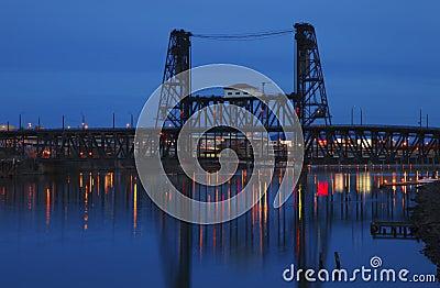 Steel bridge at dusk.