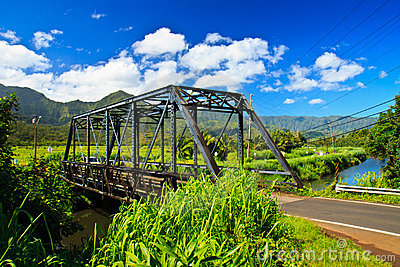 Steel bridge in Hanalei, Kauai, Hawaii