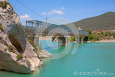 Steel Bridge Over Reservoir Stock Photo - Image: 25445490