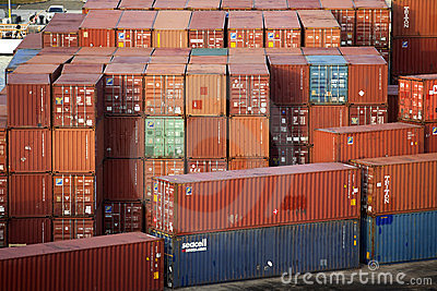 Steel Cargo Containers on Dock Editorial Stock Photo