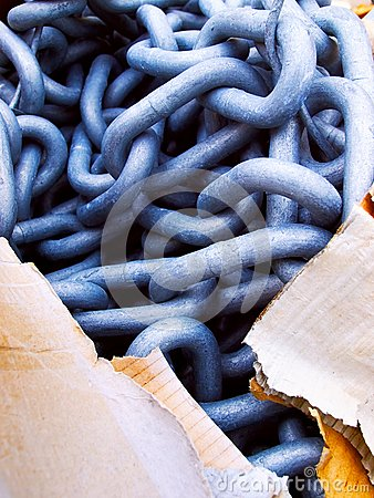Steel chain and carton, contrast solid-tearable