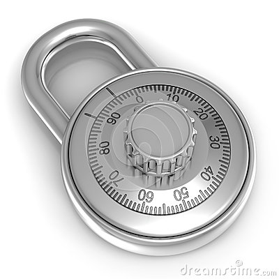 Steel combination lock over white background