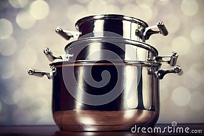 Steel cooking pots