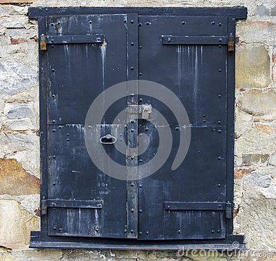 Steel Door on a Stone Building