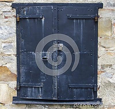 Steel Door on a Stone Building