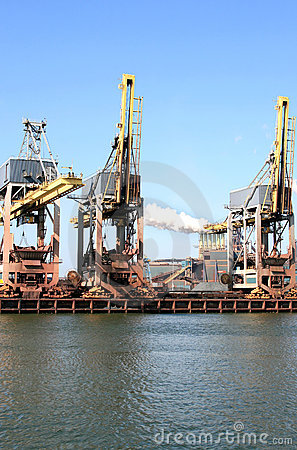 Steel factory and cranes in Holland
