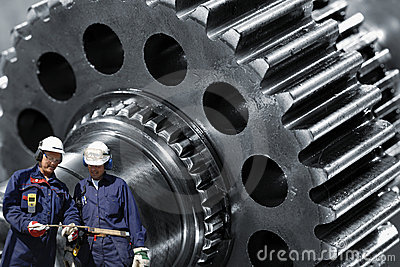 Steel gears and workers