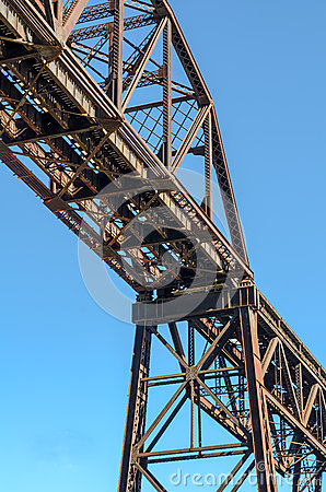 Free Steel Girder Railroad Bridge With Blue Sky. Royalty Free Stock Images - 51167529