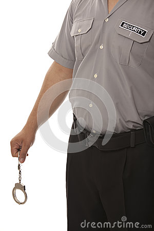 Steel handcuffs and security guard