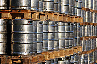 Steel Kegs On The Wooden Palettes Stock Photography - Image: 21750632