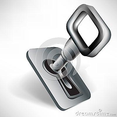 Steel key in keyhole