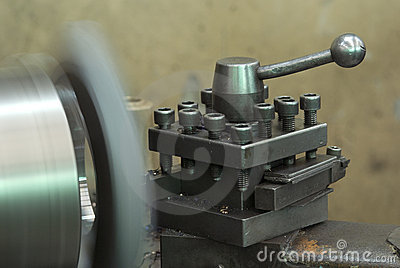 Steel lathe in production