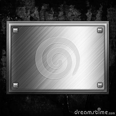 Steel metal plate on concrete wall