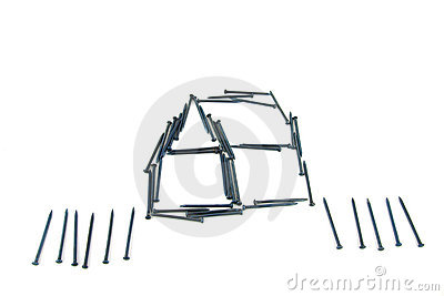 Steel nails construct house with fence