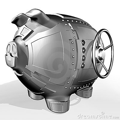 Free Steel Piggy Bank Royalty Free Stock Photo - 5008465