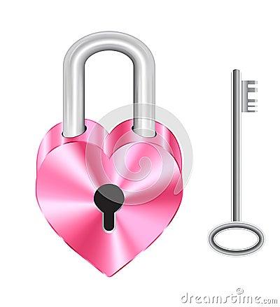 Free Steel Pink Heart Shape Master Key Lock And Steel Key Stock Image - 79958371