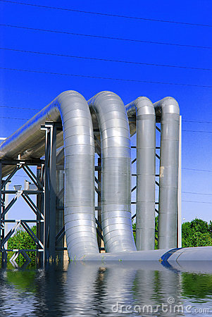 Steel pipe-line is photographed on sky background