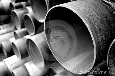 Steel pipes in black and white