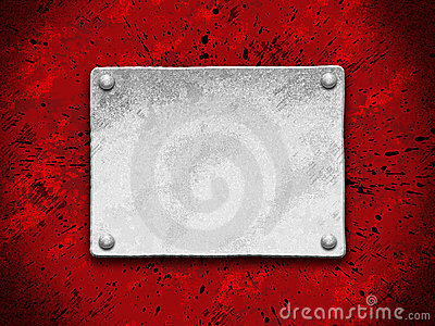 Steel plate on a red grunge background