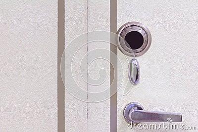 Steel safe door close-up