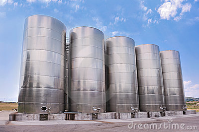 Steel tanks storing liquids Stock Photo