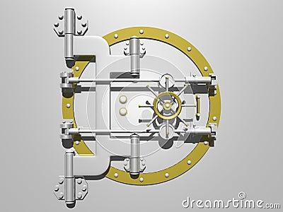 Steel vault door closed.