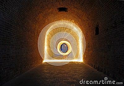 Steelwool sparks inside a passage