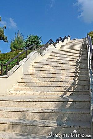 Steep ascending stairway