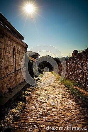 Steep  cobblestone  path